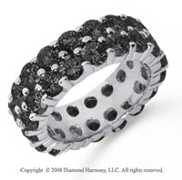 6 1/2 Carat Black Diamond Platinum Double Row Eternity Band