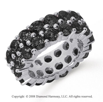 8 1/2 Carat Black Diamond Platinum Double Row Eternity Band