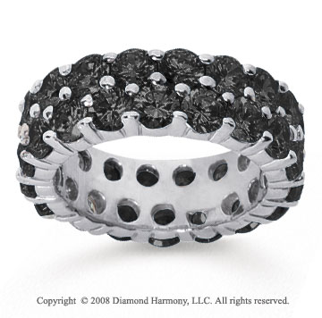 6 1/2 Carat Black Diamond 14k White Gold Double Row Eternity Band