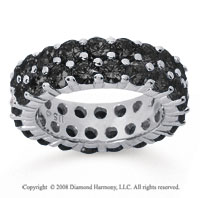 3 1/2 Carat Black Diamond 18k White Gold Double Row Eternity Band