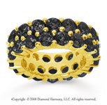 8 1/2 Carat Black Diamond 14k Yellow Gold Double Row Eternity Band