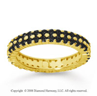 1 1/2 Carat Black Diamond 18k Yellow Gold Double Row Eternity Band
