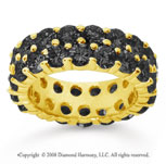 6 1/2 Carat Black Diamond 18k Yellow Gold Double Row Eternity Band