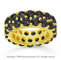 8 1/2 Carat Black Diamond 18k Yellow Gold Double Row Eternity Band