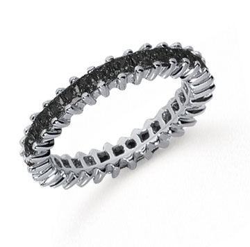1 1/4  Carat Black Diamond Platinum Princess Eternity Band