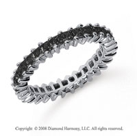 2  Carat Black Diamond Platinum Princess Eternity Band