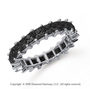 3 1/2  Carat Black Diamond Platinum Princess Eternity Band
