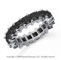 4 3/4  Carat Black Diamond Platinum Princess Eternity Band