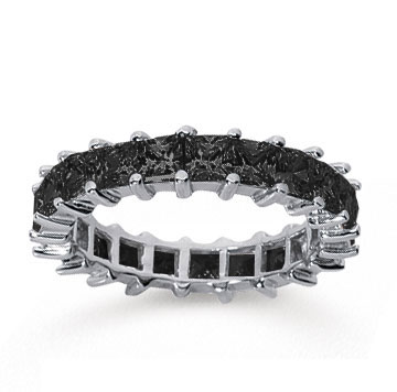 3 1/2  Carat Black Diamond 14k White Gold Princess Eternity Band