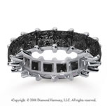 6 1/2  Carat Black Diamond 14k White Gold Princess Eternity Band