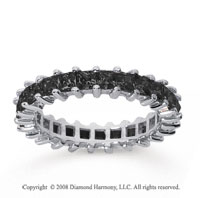 2 1/2  Carat Black Diamond 18k White Gold Princess Eternity Band