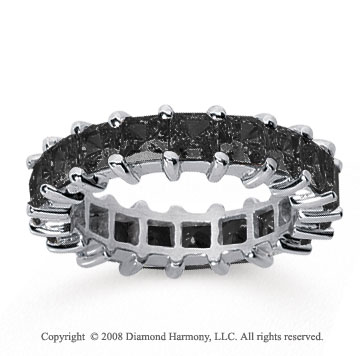 4 3/4  Carat Black Diamond 18k White Gold Princess Eternity Band