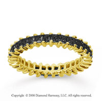 1 1/4 Carat Black Diamond 14k Yellow Gold Princess Eternity Band