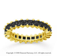 2 1/2 Carat Black Diamond 14k Yellow Gold Princess Eternity Band