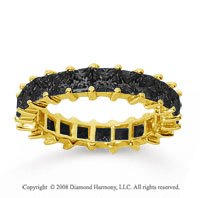 3 1/2 Carat Black Diamond 14k Yellow Gold Princess Eternity Band