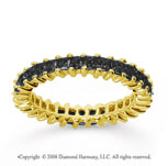 2  Carat Black Diamond 18k Yellow Gold Princess Eternity Band