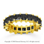 4 3/4 Carat Black Diamond 18k Yellow Gold Princess Eternity Band