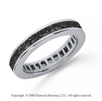 3/4 Carat Black Diamond Platinum Princess Channel Eternity Band