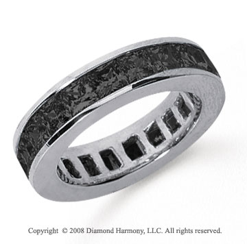4 3/4Carat Black Diamond Platinum Princess Channel Eternity Band