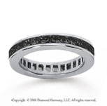 1 Carat Black Diamond 14k White Gold Princess Channel Eternity Band