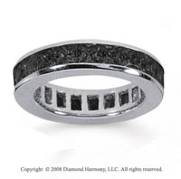 3 1/2 Carat Black Diamond 14k White Gold Princess Channel Eternity Band