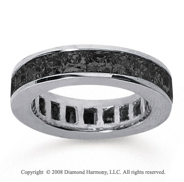 4 Carat Black Diamond 14k White Gold Princess Channel Eternity Band