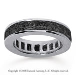 4 3/4 Carat Black Diamond 14k White Gold Princess Channel Eternity Band