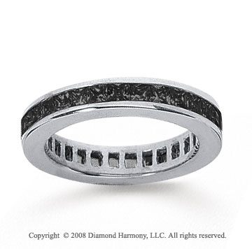 1 Carat Black Diamond 18k White Gold Princess Channel Eternity Band