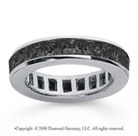 2 Carat Black Diamond 18k White Gold Princess Channel Eternity Band