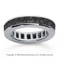 2 1/2 Carat Black Diamond 18k White Gold Princess Channel Eternity Band