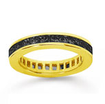 1 1/2 Carat Black Diamond 14k Yellow Gold Princess Channel Eternity Band