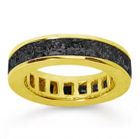 4 3/4 Carat Black Diamond 14k Yellow Gold Princess Channel Eternity Band