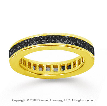1 Carat Black Diamond 18k Yellow Gold Princess Channel Eternity Band