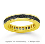 1 1/2 Carat Black Diamond 18k Yellow Gold Princess Channel Eternity Band