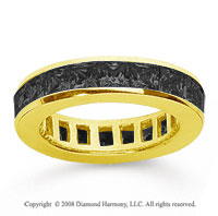 2 Carat Black Diamond 18k Yellow Gold Princess Channel Eternity Band