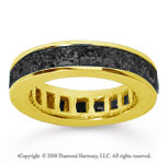 4 Carat Black Diamond 18k Yellow Gold Princess Channel Eternity Band