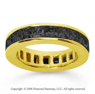 4 3/4 Carat Black Diamond 18k Yellow Gold Princess Channel Eternity Band