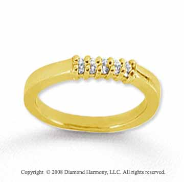 14k Yellow Gold 5 Stone 1/10 Carat Diamond Anniversary Band