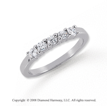 Platinum 5 Stone 1/3 Carat Diamond Anniversary Band