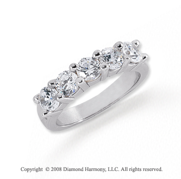 Platinum 5 Stone 1 1/2 Carat Diamond Anniversary Band