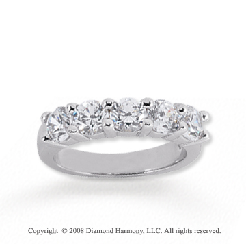 18k White Gold 5 Stone 1 3/4 Carat Diamond Anniversary Band