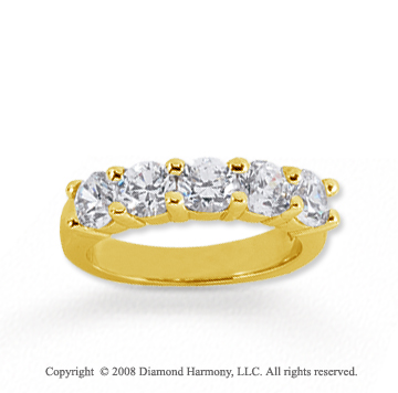 14k Yellow Gold 5 Stone 1 3/4 Carat Diamond Anniversary Band