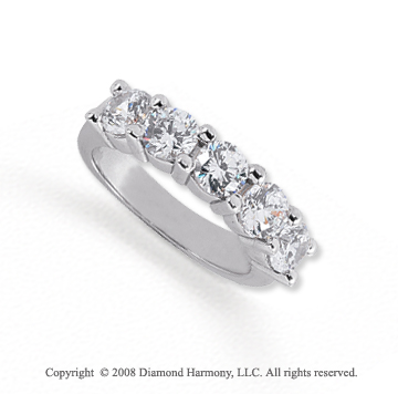 Palladium 5 Stone 2 Carat Diamond Anniversary Band