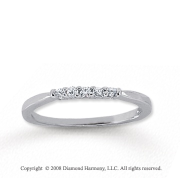 18k White Gold 5 Stone 1/10 Carat Diamond Anniversary Band
