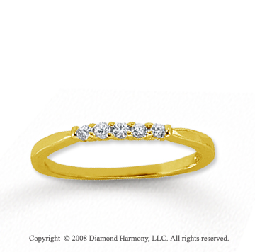 18k Yellow Gold 5 Stone 1/10 Carat Diamond Anniversary Band