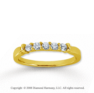 18k Yellow Gold 5 Stone 1/4 Carat Diamond Anniversary Band