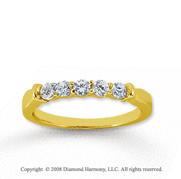 18k Yellow Gold 5 Stone 1/3 Carat Diamond Anniversary Band