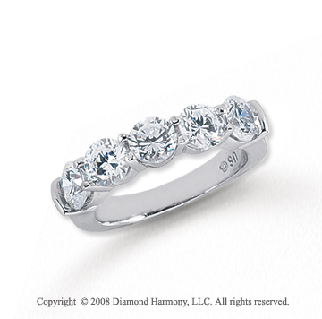 Platinum 5 Stone 2 Carat Diamond Anniversary Band