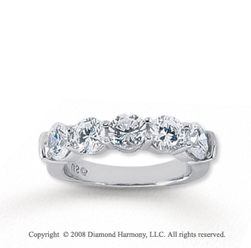 14k White Gold 5 Stone 2 1/2 Carat Diamond Anniversary Band