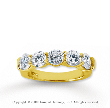 18k Yellow Gold 5 Stone 2 1/2 Carat Diamond Anniversary Band